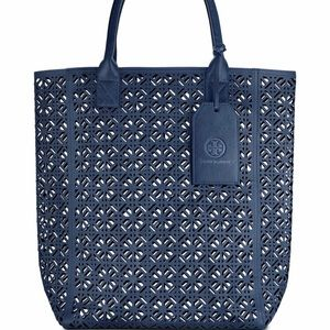 🆕 Tory Burch Perforated Navy Blue Tote Bag